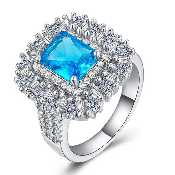 Luxury 6ct Aquamarine Gemstone Cz Wedding Jewelry White Gold Filled Engagement Ring for Lover Promise Gift Size 6-10