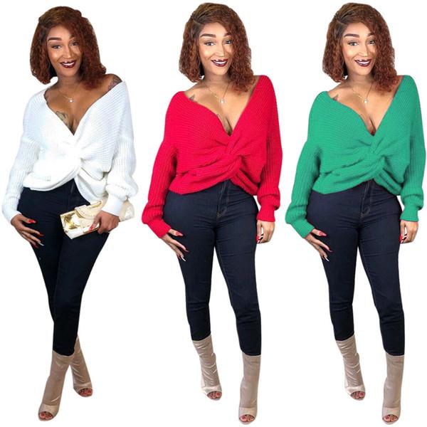 Top maglione invernale da donna Sexy scollo a V profondo con incrocio sul davanti e maglione bianco Rosso verde maglioni casual 2xl 811