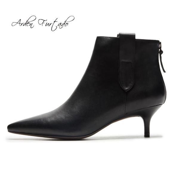 super popular 80f62 b819a Compre 2018 Primavera Otoño Stilettos Tacones Bajos 5 Cm Zapatos De Mujer  Cremallera Zapatos De Moda De Cuero Genuino Beige Tobillo Botas 33 40 A ...