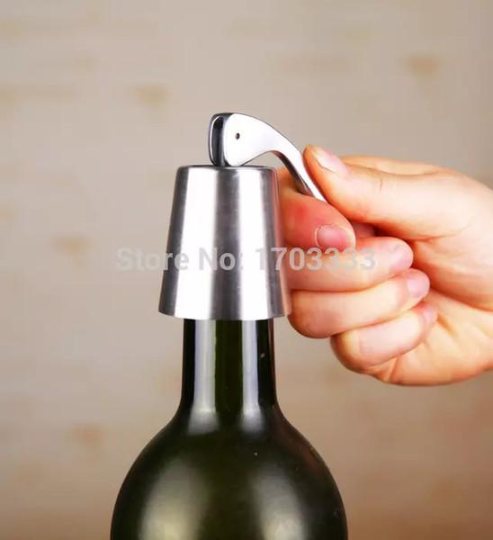 2016 nouveau bouchon en acier inoxydable réutilisable scellé vide bouchon de bouteille de vin rouge