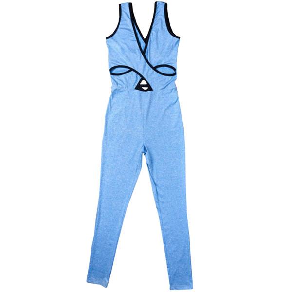 Sexy Summer Ladies Women Fitness Jumpsuit Slim Hollow Out Tracksuit Playsuit Bodysuit