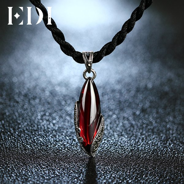 EDI Unique 925 Sterling Silver Garnet Pendants Natural Chalcedony Sterling-silver-jewelry Necklaces For Women Best Gifts S18101308