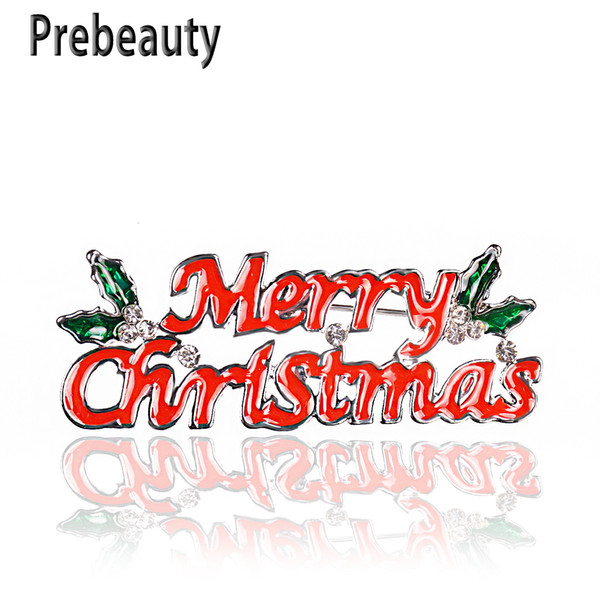 Prebeauty Enamel Merry Christmas Brooch Pin Exquisite Letters Red Green Brooch Jingle Bell Boots Charm Crystal Stone Christmas Gift Presents