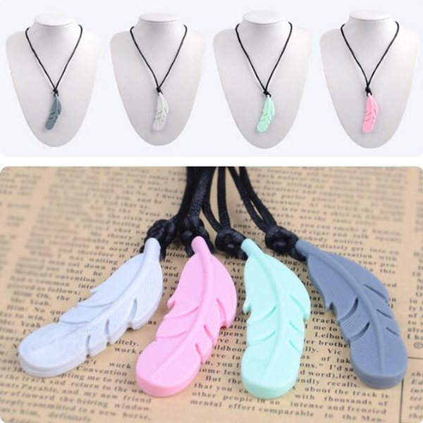 Food Silicone Feather Beads Silicone Feather Teether Necklace With Strap DIY Teething Jewelry Bracelets Pendant Baby New Mom