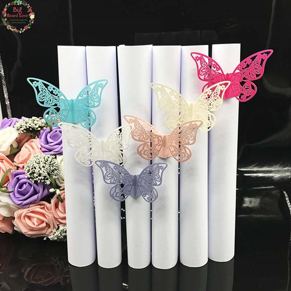 Big Heard Love 40pcs Wedding Napkin Holder Laser Cut Buerfly Napkin Ring Party Favor Paper Ring For Wedding Decoration