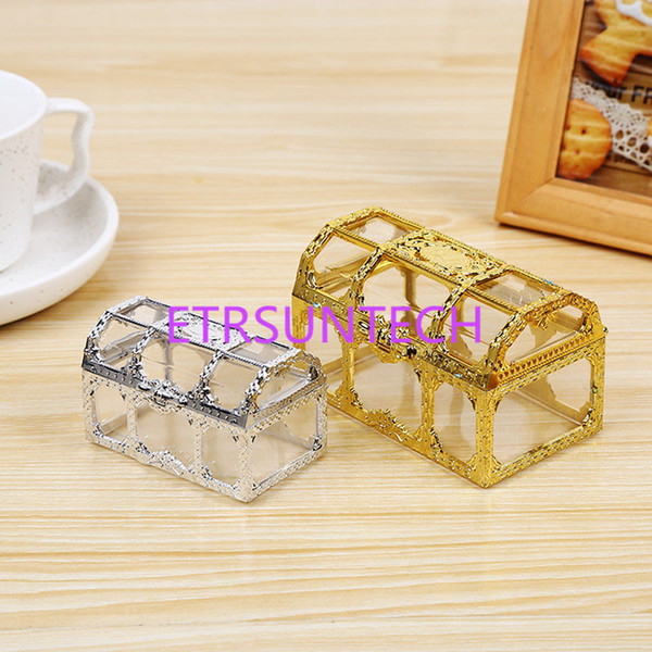 Treasure Chest Candy Box Gold Silver Transparent Plastic Novelty Chocolate Box Wedding Favor Boxes Baby Shower Gift Box QW7761