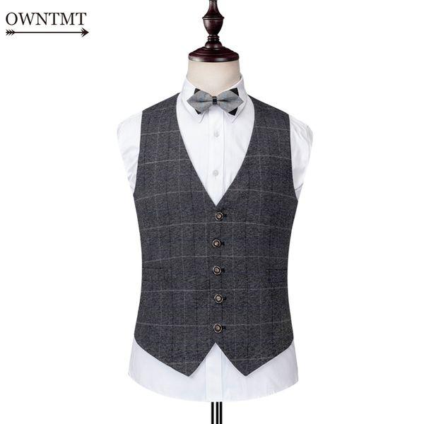 d7a391b05d 2018 Grey Plaid Herringbone Tweed Vests Slim Men British Autumn Suit Vests  Formal Sleeveless Suit Jacket Mens Dress Wedding Waistcoat From Linglon, ...
