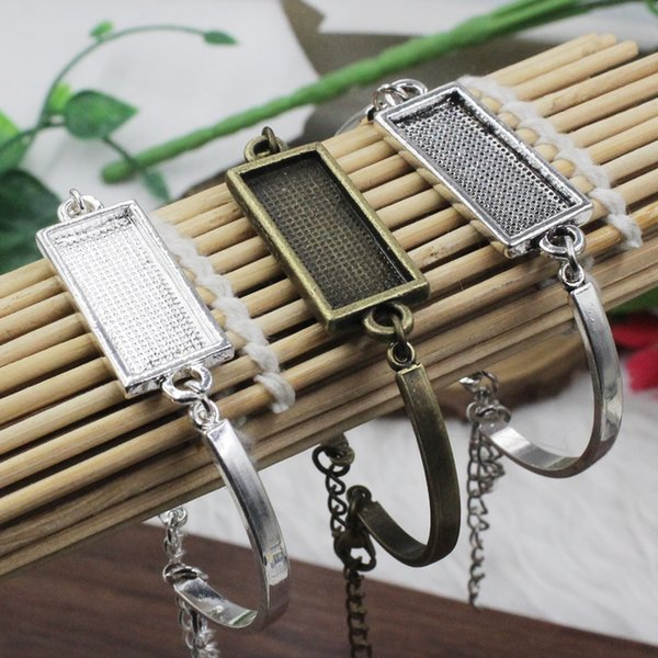5pcs/lot Fit 10x25mm Metal Rectangle Blank Setting Bezel Cabochon Bracelet Rectangle Base For DIY Bangle Jewelry Making