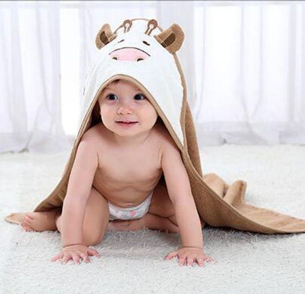 Niedliche Cartoon Kuh Baby Mit Kapuze Bademantel Weiche Säugling Neugeborenen Badetuch Decke Baumwolle Baby Handtücher Schal Junge Mädchen Badetücher