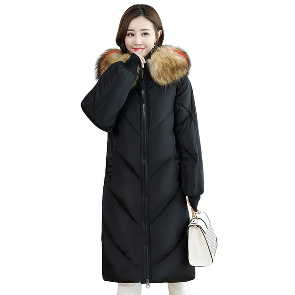 2018 Winter Women Black Coats Colorful Real Fur Collar Hooded Thicken Warm Long Jackets Female Plus Size M-5XL Outerwear Parkas