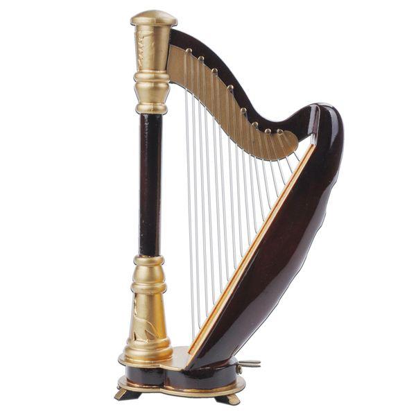top popular Free Shipping Wooden Mini Instrument Harp Decoration Wooden Mini Harp Toy 14cm 2021