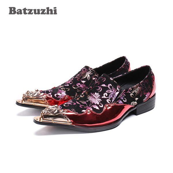 Japanese Style Fashion Men Shoes Iron Pointed Toe Red Leather Men Wedding Shoes Rock Party and Runway Dress Shoes Men!