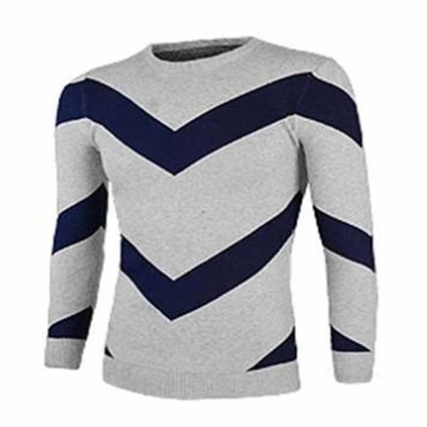 NEW Fashionable Design Men Personal Wide Stripe Style Clothes Tops Casual Long Sleeve Round Neck Sweater 2 Colors