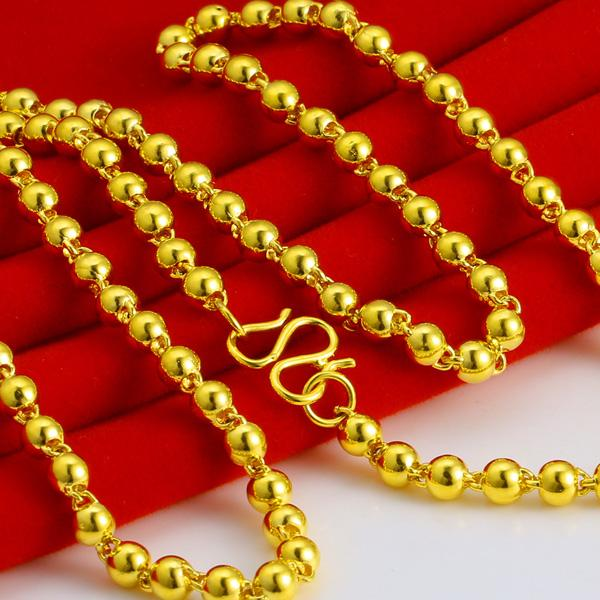 5MM Solid Beads Chain Necklace Yellow Gold Filled Mens Womens Necklace 19.68 Inches Long
