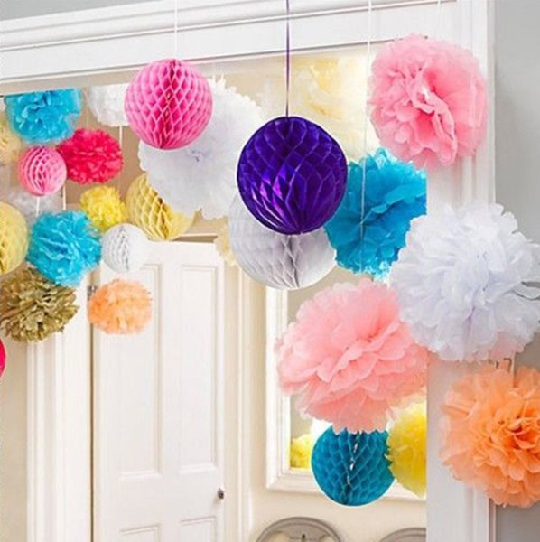 10pc 20 25 30cm Wedding Decoration Pom Pom Tissue Paper Pompom Artificial Flowers Baby Shower Birthday Party Decorations