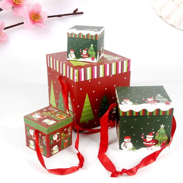 Lovely 1Pcs Square Candy Box Hold Christmas Party Paper Gift Boxes Wrapping Bag Birthday Decor Xmas Decor DIY Present Case