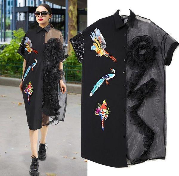 New 2018 Summer Women Black Mesh Shirt Dress Plus Size Ruffle Bird  Embroidery Big Size Girls Sheer Midi Dress Party Dresses Womens Sun Dress  White ...