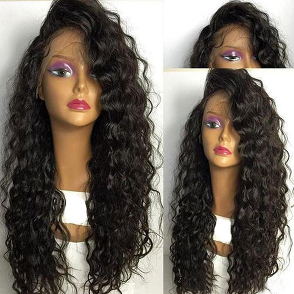 DHL Shipping Kinky Curly Full Lace Wigs Glueless Brazilian Human Hair Front Lace Wig with Baby Hair Pre Plucked Natural Hairline 150%Density