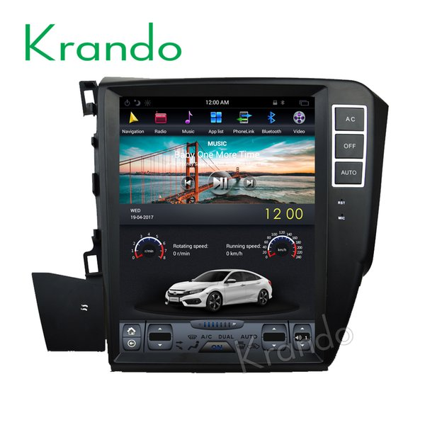 "Krando Android 7.1 10.4"" Vertical screen car DVD audio radio system player for Honda Civic Left driving 2012+ gps navigation"