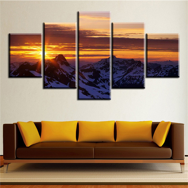 Poster Artwork Canvas Oil Painting Wall Popular For Living Room 5 Pieces Magic-Mountain-Sunset Modular Picture HD Print Framework