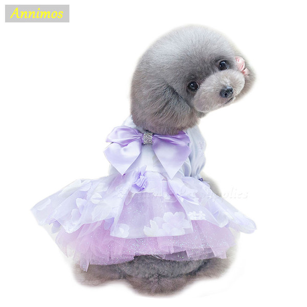 2018 Pet Dress Flower Princess Satin Skirt Bowknot Party Tutu Puppy Wedding Costume Summer Clothes for Small Girl Dogs XS-XL ,18
