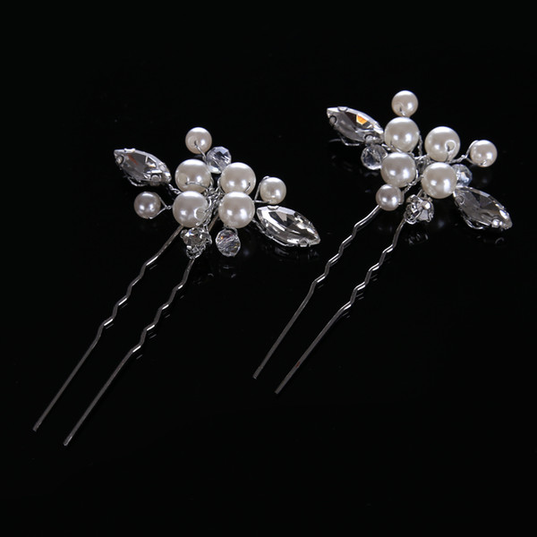 fashion Crystal woman silver hairpins Rhinestones Flower Wedding Bridal Hair Clip hairpins Chic Handmade Jewelry Accessories