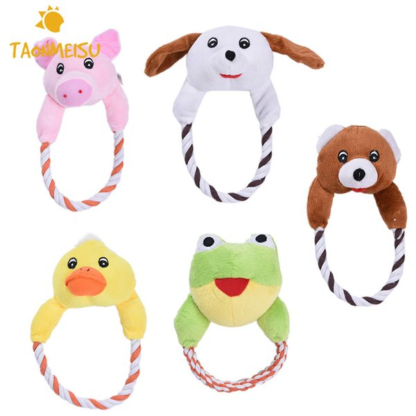 Dog Cat Toys Pets Puppy Interactive Plush Chew Squeaker Sound Toy Duck Bear Pig Designs 1pcs