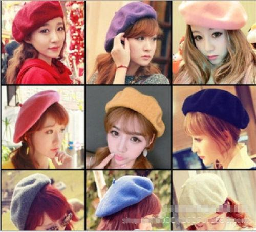 2018 New Style Winter Berets Women Girls Kids Sweet Outdoor Warm Wool French Artist Beanie Hat Ski Cap Solid Hats 9Colors Hot