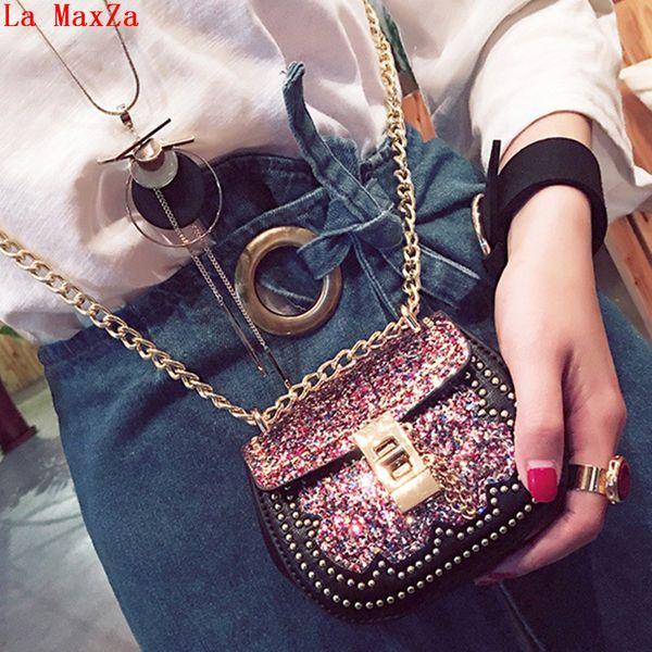 La MaxZa Sequins Decoration Children's Bag for Girls PU Leather Chains Kids Girl Shoulder Bags Childrens Purse Wallets for Girls