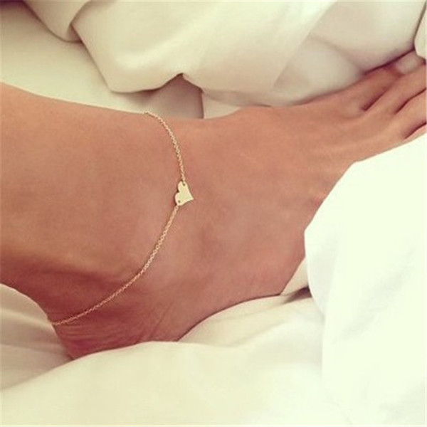 best selling Silver Gold Tone Sexy Foot Chain Anklets Bracelets Heart Shape Fashion Vintage Jewelry For Women Girls
