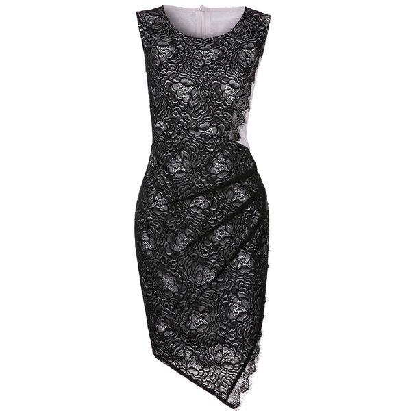 2019 New Fashion Autumn Winter Sexy Women Sleeveless Lace Mini Dress O Neck Back Zipper Bodycon Bandage Dress Black