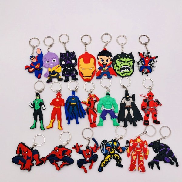 Wholesale Comics Marvel Avengers Keychain Cartoon 3D Double Side Key Ring PVC Anime Figure Hulk Batman Thor Key Chain Trinket Key Holder