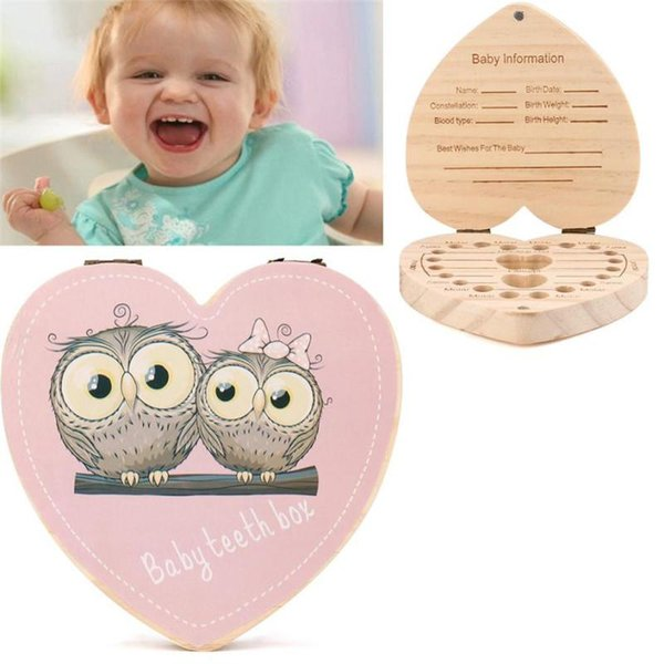 LOVE Heart English Kids Tooth Box Organizer Owl/Elephant Color Paint Baby Save Milk Teeth Wood Storage Box Beft gift for Child