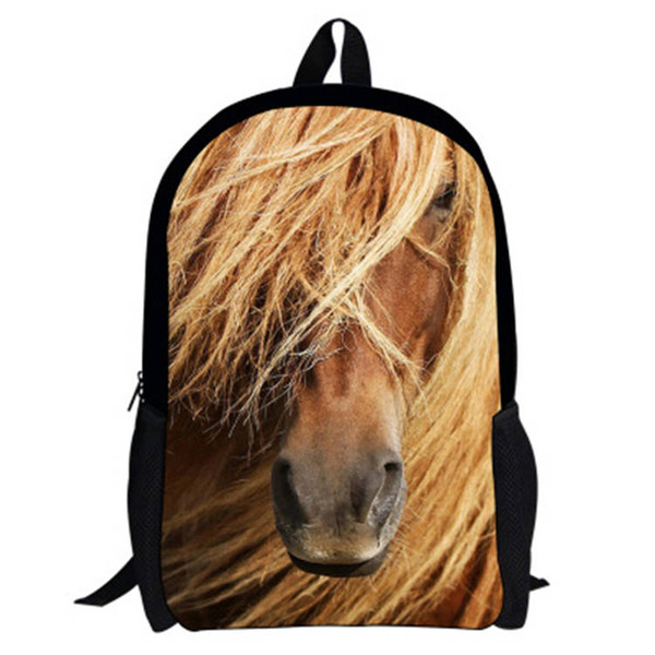 17 -Inch 2016 Hot Children Animal Bag Horse BackpacFor School Boys Girls Printed Horse Backpack For Kids Students