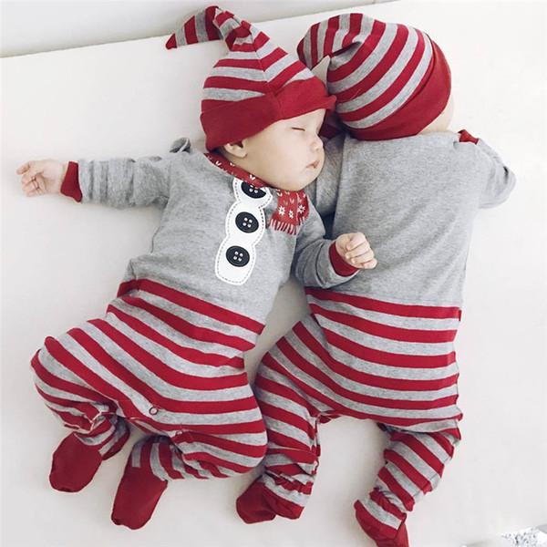 Bebek Giysileri Noel Tulum Uzun Kollu O-Boyun Tulum + Şapka 2 Adet Set Kıyafet Sıcak Sevimli Giysiler Yenidoğan Kız Erkek Vestidos