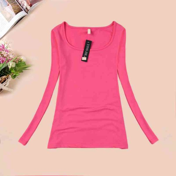 New T-shirts For Women Long Sleeve Winter Top Tee Candy Color Female T-shirt Thermal Underwear T Shirt Women Camisetas Femininas