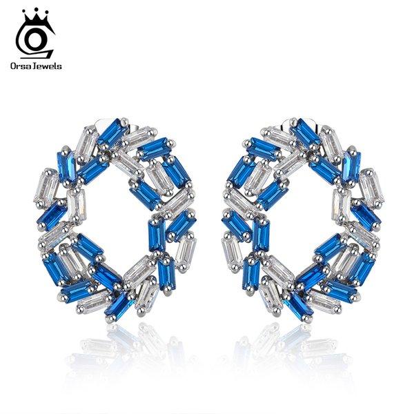 Nuovo! ORSA GIOIELLI Moda Orecchini Stud per le donne Orecchini forma rotonda con zircone Trendy Style femminile Wedding Band Fashion Jewelry OE173