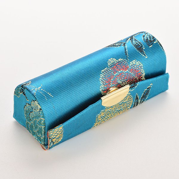 1PCS Embroidered Flower Design Lipstick Case Box with Mirror Haspplain Fabric Cosmetic Bags Coin case Random Colour