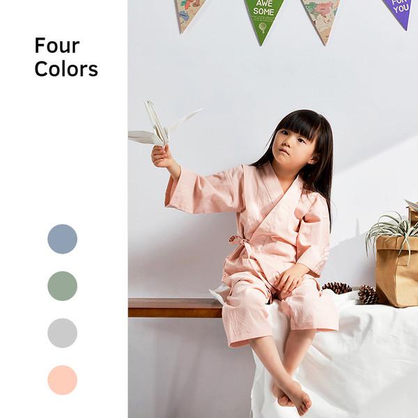 Çocuk Japon Tarzı Pijama Pamuk Bebek Erkek Kız Ev Giyim Takım Elbise Bahar Ve Sonbahar Uyku Suit