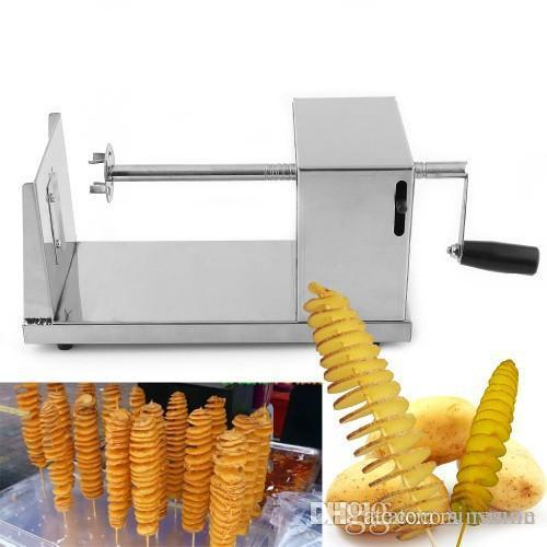Wholesale 2016 New Stainless Steel Manual Spiral Potato Chips Twister Slice Cutter Tornado Hot Free shipping