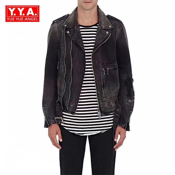 2018 New Fashion High Street Biker Denim Jacket Black Hole Denim Coat Short Jackets Men Casaco Masculino Zip Jackets Casual Male