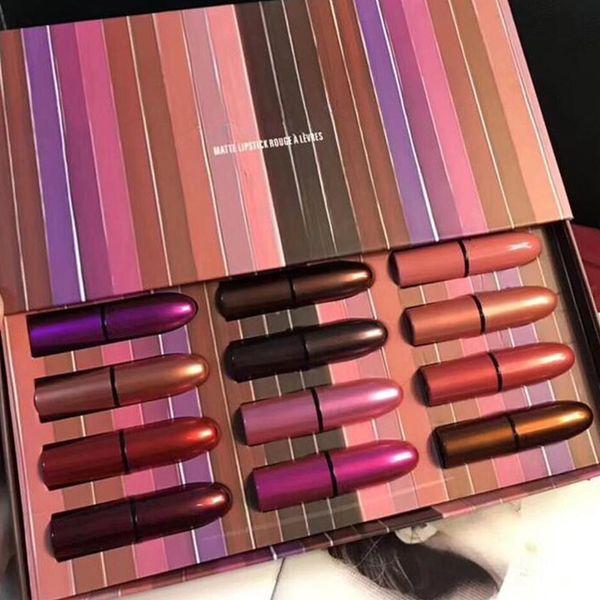 Maquiagem famosa Marca M Batom Set 12 cores Batom Matte 12 pçs / set com Caixa de Presente DHL grátis