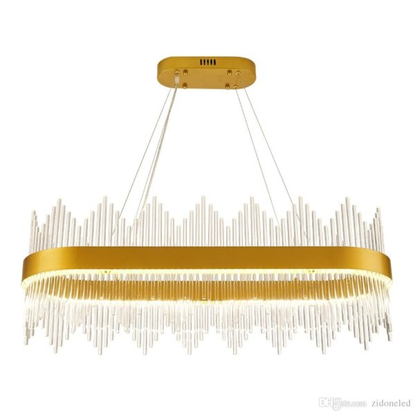 New comming!!Modern Crystal Chandelier Rectangle Luxury Dining Room Suspension Luminaire Home Decoration LED Hang Lighting Fixture