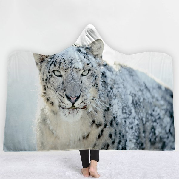 Lannidaa New Arrivals Cool Moon Wolf Hooded Blanket 3D Printed Animals Pattern Fleece Throw Blankets On Bed Sofa Travel Throws
