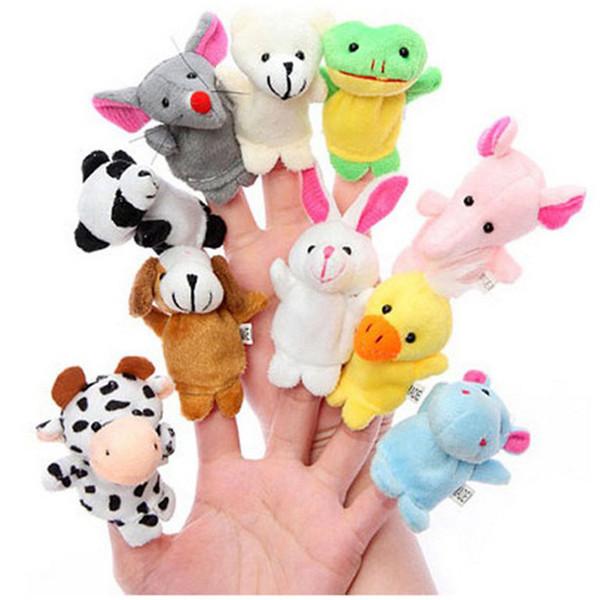 best selling Wholesale 10 Animal Finger Puppet Plush Toy Cartoon Biological Child Baby Doll Kids Educational Hand Finger Toys For Children