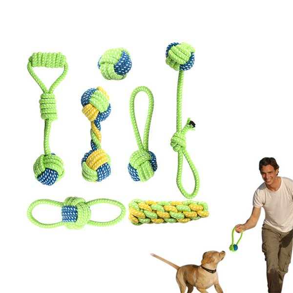 Pet Dog Cotton Rope Toy Knot Puppy Chew Teething Toys Teeth Cleaning Pet Palying Ball For Small Medium Large Dog 7pcs/Set