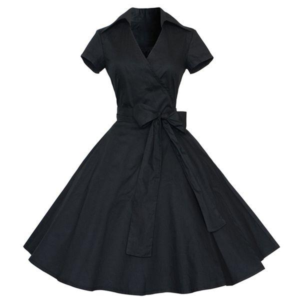 Compre Zaful Estilo Elegante Audrey Hepburn Años 60 Vestido Negro De La Vendimia Más El Tamaño 3xl Mujeres Del Verano Vestido Retro Fiesta Vestidos De
