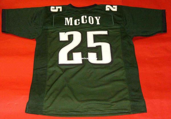 Retro maillot rétro # 25 LeSean McCoy CUSTOM MITCHELL NESS vert coudre Top Hommes S-5XL, 6XL maillots de football