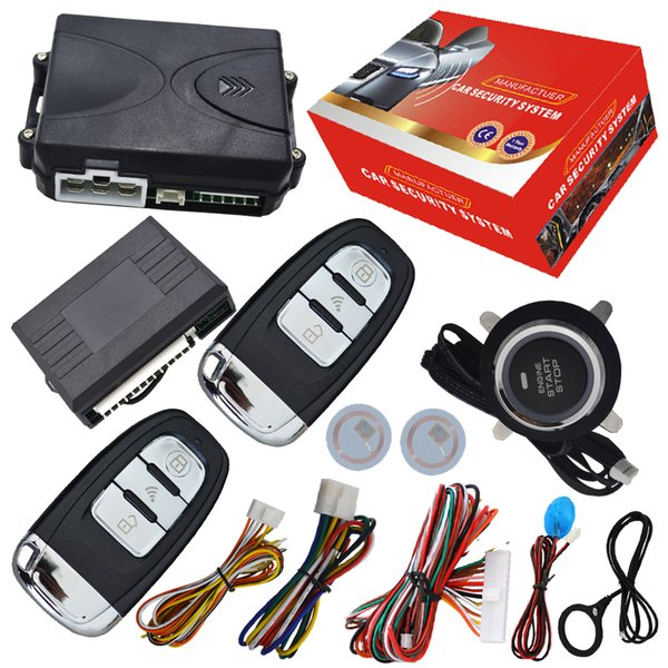 car alarm system without sensor alarm RFID chip built in remotes arm or diarm engine push start stop engine without pke