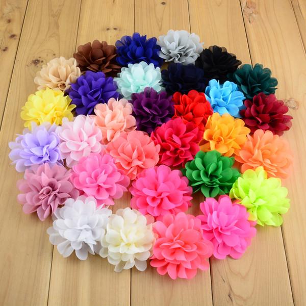 Şapkalar Aksesuarları 120 adet Lot 2.75in Kızlar Şifon Saç Çiçekler 30 Renkler Neon Yapay Çiçek Düz Geri Diy Çocuklar